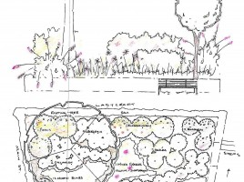 The illustrated section of the original Main Street Garden Design w/out horticultural key.